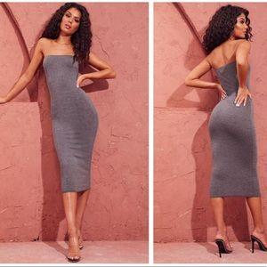 Charcoal Grey Basic Bandeau Midaxi Dress